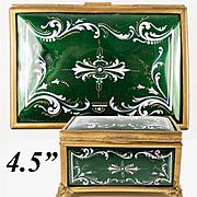 "Antique French Kiln-fired Enamel Jewelry Box, Casket, RARE Green & Pink, EC  4.5"""