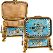 "Antique Petit Kiln-fired French Enamel Jewelry Box, 3.25"" Casket, Bresse or Sevres Enamel"