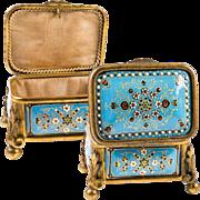 """Antique Petit Kiln-fired French Enamel Jewelry Box, 3.25"""" Casket, Bresse or Sevres Enamel"""