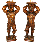 PAIR Antique Carved Figural Supports, Architectural Salvage from 19th C. Furniture or Bar