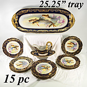 "RARE Antique 15pc French Limoges Cobalt, Gold HP Fish Service, Bernadaud Porcelain, 25"" Tray"