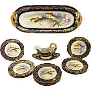 "RARE Antique 15pc French Limoges Cobalt, Gold HP Fish Service, Bernadaud Porcelain, 25"" Tray"