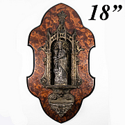 "Fine Large Antique French Holy Font, 18"" Burled Wood Plaque, Figural, Neo-Gothic, Napoleon III"
