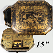 """HUGE 15"""" Antique Chinoiserie Gaming Chest, Box, Game Chips and Counters, 9 Compartments"""
