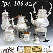 """RARE Antique French Sterling Silver 5pc Coffee & Tea Set: 14"""" Kettle with Warmer Base, Tea Pot, Chocolate Pot, Sugar & Creamer"""
