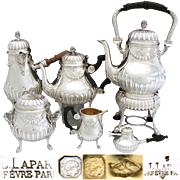 "RARE Antique French Sterling Silver 5pc Coffee & Tea Set: 14"" Kettle with Warmer Base, Tea Pot, Chocolate Pot, Sugar & Creamer"
