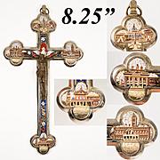 "Superb Antique 8.25"" Grand Tour Micromosaic Crucifix, 4 Architectural Views of Rome, Bronze Christ"