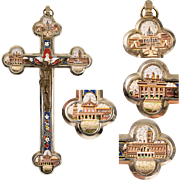 "Superb Antique 8.25"" Grand Tour Micromosaic Crucifix, 4 Architectural Views of Rome, Bronze Christ"