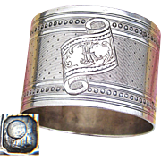 "Antique French Sterling Silver Napkin Ring, Guilloche Style Decoration, ""JK"" or ""KJ"" Monogram"