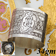 "Antique French .800 Silver Napkin Ring, Floral & Textured Decoration, ""GG"" Monogram"