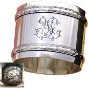 "Antique French Sterling Silver 2"" Napkin Ring, Classical Empire Laurel Bands, YL Monogram"