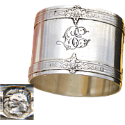 "Antique French Sterling Silver Napkin Ring, Aesthetic Style Belts or Bands, ""LE"" Monogram"