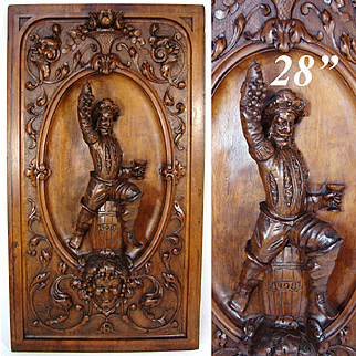 """Spectacular Antique French Hand Carved 28"""" Panel Plaque, Bacchus & Mascaron Figures, Wine Barrel & Seated Figure"""