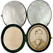 Antique French Etui, Case, Mother of Pearl Photo Locket, Frame for Travel, c. 1880s