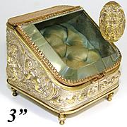 Antique French Napoleon III Era Pocket Watch Display Casket, Box: Cherubs or Putti, Mascaron Figural
