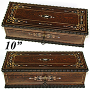 "Gorgeous Antique French 10"" Document or Gloves Casket, Boulle Style Brass & Mother of Pearl Inlays"