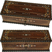 """Gorgeous Antique French 10"""" Document or Gloves Casket, Boulle Style Brass & Mother of Pearl Inlays"""