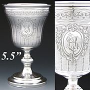 """Rare Antique French Sterling Silver 5.5"""" Goblet or Chalice, Guilloche Style Decoration, """"LR"""" Monogram"""