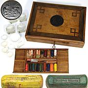Antique Artist's Watercolor Painter's Box, Bourgeois Aine Paints, Figural Medallion