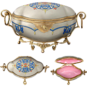 Fabulous Antique French Sugar or Jewelry Casket, Unique Silver Finish Porcelain & Gilt Bronze, Working Key