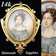 Rare Antique Georgian Era 1830s Portrait Miniature Brooch, 14k Gold, Mine Cut Diamonds & Sapphire