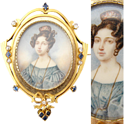 Rare Antique Georgian Era 1830s Portrait Miniature Brooch, 14k Gold, Mine Cut Diamonds & Sapphire