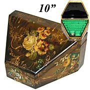 Rare Antique Victorian Papier Mache Writer's Stationery Casket, Box, HP Exotic Birds, Pristine
