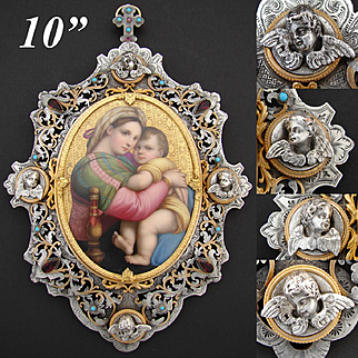 Museum Quality Antique French HP Madonna della Seggiola after Raphael, Gilt, Silvered & Jeweled Bronze Frame