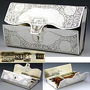 RARE Antique Russian Sterling Silver Cigar Case, Unique Billfold or Purse Shape, Palace Square & Alexander Column