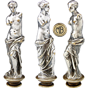"Antique Napoleon III Era Silvered Bronze Wax Seal or Sceau Sculpture, Venus de Milo, ""MB"" Monogram"