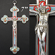 """Antique Italian 8 1/8"""" Micro Mosaic Altar Style Crucifix, Marked by Maker """"Stocker"""", """"Roma"""""""