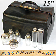 "Rare Large Antique Victorian Era 15"" P. SORMANI Marked Travel Case, Crown Engraved Sterling Silver Jars +"