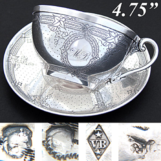 LG Antique French Sterling Silver Tea Cup & Saucer, Guilloche Style Foliate Decoration, MB Monogram