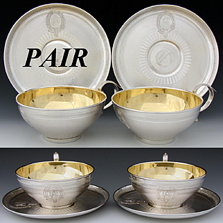 PAIR of Antique French Sterling Silver Full Sized Chocolate or Tea Cup & Saucer Set, 4pc, Ornate Guilloche Style