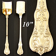 "Rare Antique 14-18k Gold Vermeil on Continental Silver 10.5"" Stilton Cheese Scoop, Server"