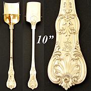 "Rare Antique 14-18k Gold Vermeil on Continental Silver 10.5"" Stilton Cheese Scoop, Server"