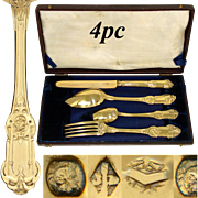 """Antique French 18k Gold on Silver """"Vermeil"""" 4pc Place Setting for One, Opulent, Original Box"""