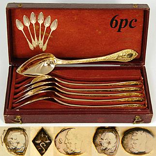 Stunning Antique French 1819-1838 Vermeil Silver 6pc Teaspoon Set, Winged Angel or Cherub Figures, Box or Etui