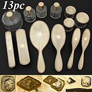 Rare Vintage French 18k Gold on Sterling Silver Vermeil 13pc Vanity Set: 7 Bottles, 5 Brushes & Mirror