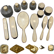 Rare Vintage French 18k Gold on Sterling Silver Vermeil 13pc Vanity Set: 7 Bottles, 5 Brushes & Mirror