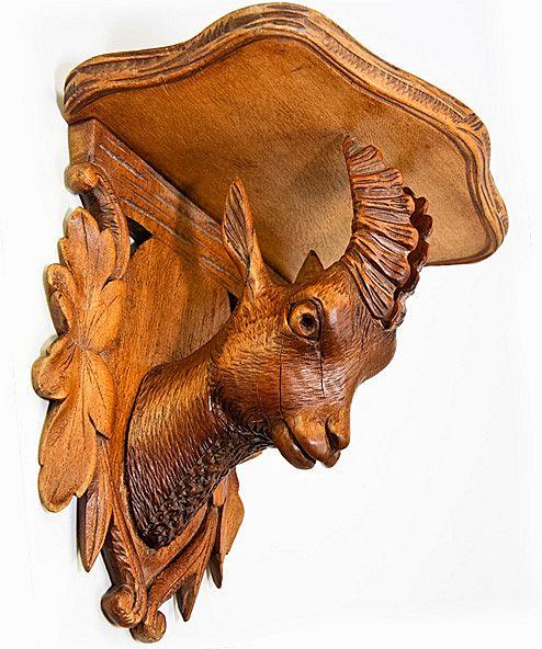 Antique Black Forest Carved Chamois Bracket Shelf