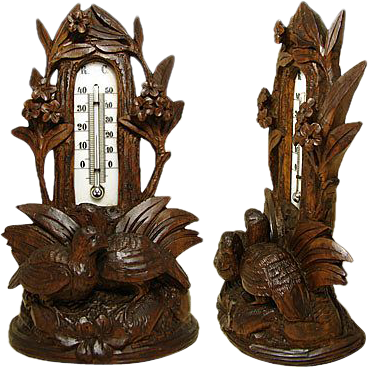 Antique Black Forest Desk Top Thermometer Stand, Two Birds
