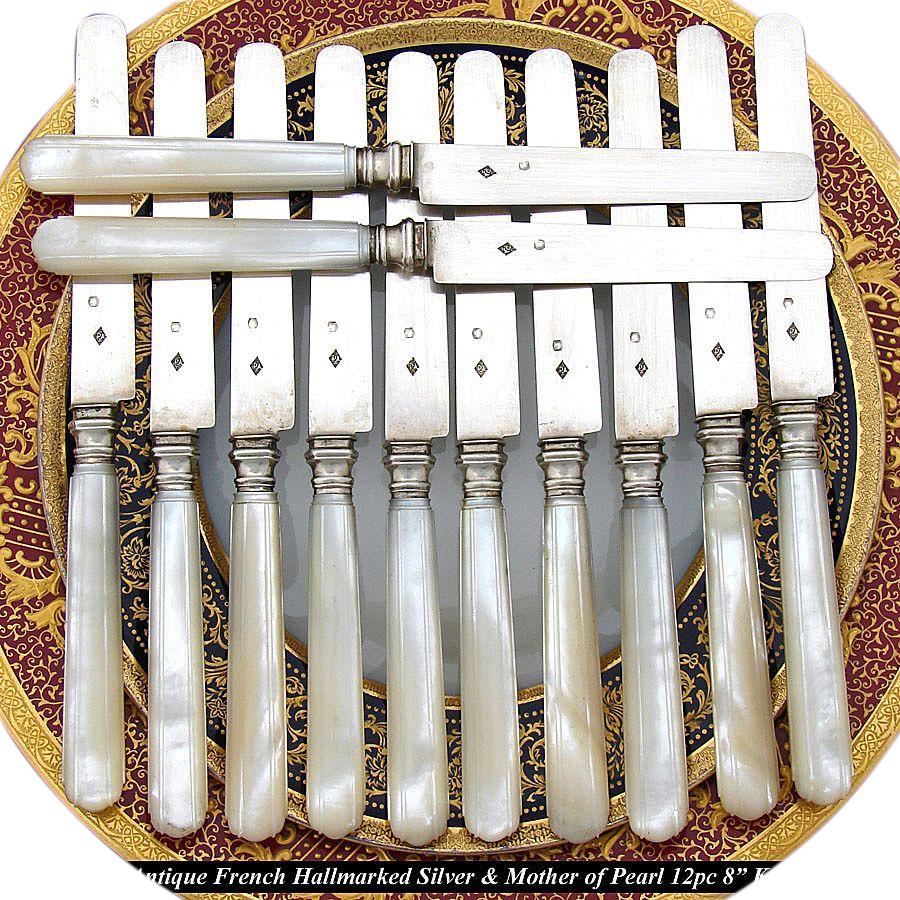 Antique French 12pc Sterling Silver & Pearl Handled Knife Set