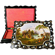 Antique Victorian HP Papier Mache Jewelry Box, Casket