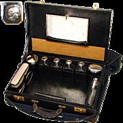 "Antique French 18"" Tousse de Voyage, Travel Case, Sterling Silver Jars & Perfumes, Original Tools"
