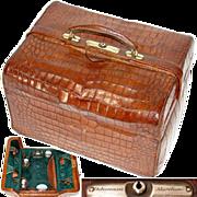 """Superb Large Antique Victorian Era 15"""" Alligator or Croc Travel Case, Marked """"Dalmuinzie - Aberdeen"""""""