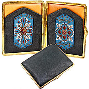 Antique Beadwork & Leather Cigar Cigarette Case, Suitable for Cell Phone or Evening Purse