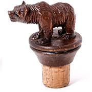 Antique Hand Carved Black Forest Bear Bottle Stopper, Decanter Cork