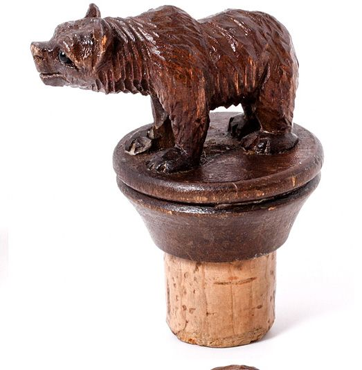 Antique Hand Carved Black Forest Bear Bottle Stopper, Decanter Cork