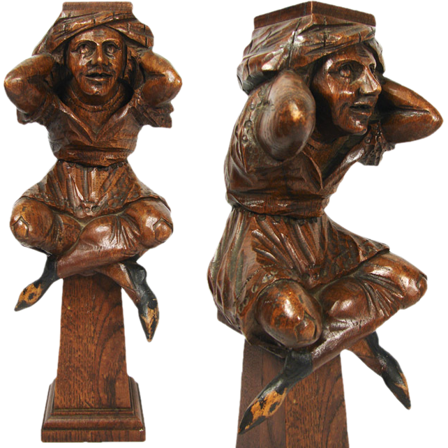 Antique Hand Carved Figural Support from 19th c. Furniture or Bar, Architectural Salvage #4